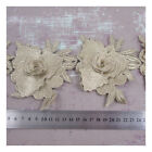 GOLD FLORAL TRIM DECORATIVE BEADED LACE APPLIQUE SEWING CRAFTS PER METRE