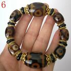1X China Tibet Dzi Monk Prayer Worry Old Agate Bead Bracelet Prayer Kung Fu R111