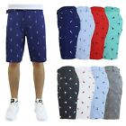 Mens Flat-Front Printed Cotton Shorts Design Pattern Pockets Fashion Belted...