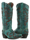 Womens Turquoise Inlay Western Cowgirl Boots Distress Genuine Leather Snip Toe