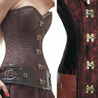 Brown Jacquard Overbust Steampunk Victorian Costume Corset Buckles & Clasps S-2X
