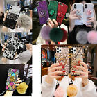 For Samsung Note10 9 S10+ E S9 8 Bling Diamond Stand Plush Ball Strap clear Case $6.29 USD on eBay