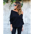 Women Off Shoulder Baggy Ladies Pullover Top Knitted Oversized Sweater Jumper UK