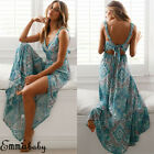 UK Womens Summer Boho Maxi Dress Evening Cocktail Party Beach Dresses Sundress
