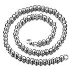 """7""""-40"""" 6/8/10mm Men Women's Stainless steel Silver Rosary Beads Necklace Chain"""