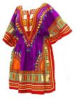 Woman African Dashiki Print Poncho Top Shirt Elastic Waist Short Dress One Size  <br/> 100% Cotton   High Quality   Ships from USA