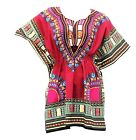 Woman African Dashiki Print Poncho Top Shirt Elastic Waist Short Dress One Size  <br/> 100% Cotton | High Quality | Ships from USA