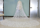 2 Tiered Wedding Bridal Veil Double butterfly crepe ivory 300*200*70 Ivory White