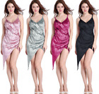 Womens Sexy Spaghetti Strap Deep V-Neck Velvet Wrap Irregular Slip Mini Dress
