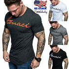 US Stock Men's Gym Muscle Bodybuilding Sport Fit Fitness Casual T-shirt Tee Tops