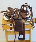 "Dark Oil Tooled Leather Youth Pony Western Show Saddle Set 10"" 12"" 14.5"""