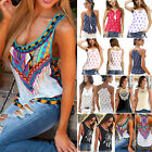 Womens Boho Tank Tops Sleeveless Loose Vest Blouse Summer Casual T- shirt Cami US