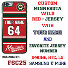 Minnesota Wild Personalized Red Hockey Jersey Phone Case Cover for iPhone etc. $19.98 USD on eBay