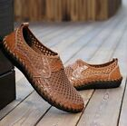 Fashion US Summer Breathable Mens Driving Slip on Loafers Leather Mesh Shoes