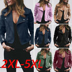 Women Motorcycle Biker Zip Leather Short Jacket Leather Coat Plus Size Outwear
