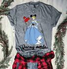 Mickey Mouse Cinderella Vacay Mode T Shirt Ladies Sport Grey Cotton S-3XL