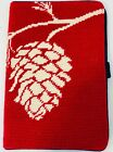 New Lands' End Red White Pine Cone Print Needle Point Ipad Case Tech Accessory