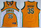New Men's Seattle Supersonics 35# Kevin Durant basketball jersey Mesh yellow on eBay