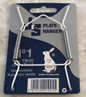 """JES Co England White Vinyl Covered Wire Plate Hanger Diff Sizes 3.5"""" up to 16"""""""