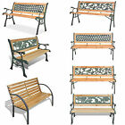 3 Seater Outdoor Wooden Garden Bench Cast Iron Legs Park Seat Furniture Chair US