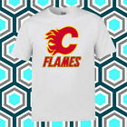 Calgary Flames Hockey Club Logo Men's White T-Shirt Size S M L XL 2XL 3XL $16.87 USD on eBay