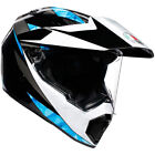AGV AX9 North Off-road Motorcycle Helmet - Black / White / Cyan - CHOOSE SIZE