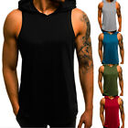 Mens Slim Fit Sleeveless Shirts Hooded Tops Muscle Hoodie Casual Vest T-shirt image