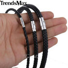 4/6/8mm Leather Black Braid Rope Cord Magnet Chain Necklace Jewelry 14-36 inch image