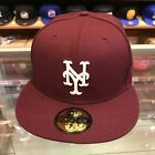 New Era 59FIFTY New York Mets Fitted Hat Cap Maroon/White on Ebay