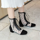 Mesh Ankle Boost lady's Shoes Summer Spring Lace Up Block Heels Shoe Low Heels Y