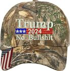 Trump 2024 US Flag No Bullshit Real Tree Camo Structured One Size Fits All Hat