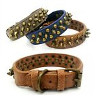 Adjustable Leather Studded Rivet Dog Collar Durable Spiked for Pitbull Mastiff