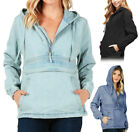 Women  s Premium Denim Hoodie Half Zip Pullover Casual Cotton Jean Jacket