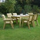 Barrowden Outdoor Wooden Garden Dining Set / Table / Patio Furniture - 6 Chairs