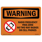 OSHA WARNING Sign - Radio Frequency Free Zone No With Symbol|  Made in the USA