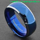 Tungsten Men's Blue Domed with Beveled Silver Edges Band Ring Size 7-15 image