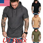 Fashion Men's Slim Fit Solid hooded Hoodie Short Sleeve Casual T-Shirt Tops USA image