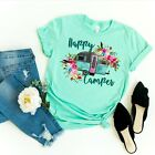 Happy Camper Funny Hippy Flower Crew Neck Shirt by Saltee Beaches Apparel