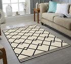 IVORY WHITE / CREAM BLACK BENI OURAIN MOROCCAN TRIBAL GEOMETRIC PATTERNED RUG