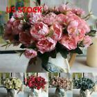Us  Artificial Peony Silk Flowers Leaf Bouquet Home Floral Wedding Garden Decor