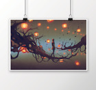 TREES AND LANTERNS DIGITAL PAINTING PRINT WALL ART PICTURE ON CANVAS OR POSTER