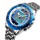 Solar Powered Mens Watches Stainless Steel Waterproof Analog&Digital Sport Watch
