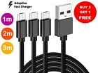 Heavy Duty Braided Micro USB Charger Charging Lead Data Long Phone Cable 2M 3M