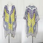 Grey Indi Aztec Designer Beach Pool Cover up Festival Kimono Kaftan 8 10 12 14