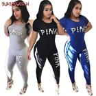 RAISEVERN Hot Women Tracksuit Letters Print Top and Long Pants 2 Piece Set Femal