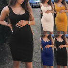 Pregnant Womens Solid Bodycon Summer Party Midi Dress Maternity Casual Clothes