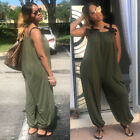 Casual Women Bib Cargo Pants Hip Hop Harem Pants Jumpsuit Romper Plus Size Linen