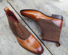 Handmade Men's leather Tweed Boots Men's Brown Button Top Ankle High Dress Shoes