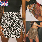UK Ladies Womens Leopard,Tartan, Comic Print Summer Short Mini Skirt Split Dress