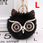Women Girl Soft Faux Fox Fur Owl Keychain Car Fluffy Pompom Keyring Pendant Ball